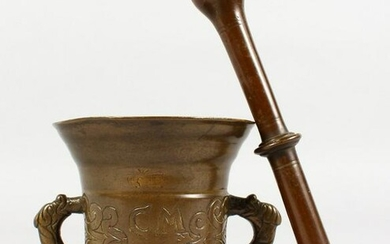 A CAST BRONZE TWIN-HANDLE PESTLE AND MORTAR, with