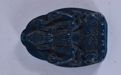 A CHINESE CARVED LAPIS LAZULI TYPE CARVED PENDANT