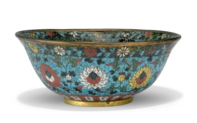 A CHINESE CLOISONNE ENAMEL TURQUOISE-GROUND BOWL, MING DYNASTY, 17TH CENTURY