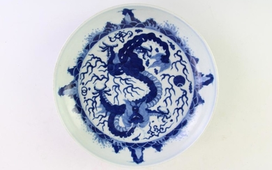 A Chinese Blue and White Dish (Signed to base)