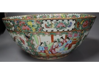 A Chinese Canton decorated famille rose punch bowl, 19th cen...