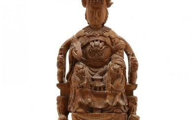 A Chinese Carved Wooden Sculpture of Empress