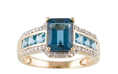 A DIAMOND AND TOPAZ CLUSTER RING, mounted in 9ct gold. Estim...