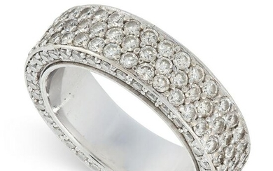 A DIAMOND ETERNITY RING set with five rows of pave set