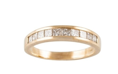 A DIAMOND SET HALF ETERNITY RING, channel set with princess ...