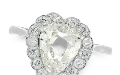 A DIAMOND SWEETHEART DRESS RING set with a pear shaped