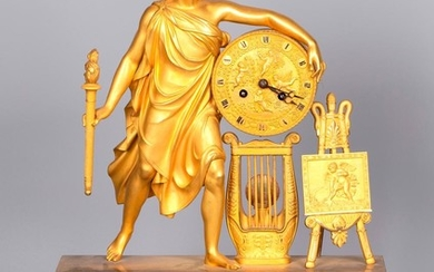 A Figurative Gilt Bronze Mantel Clock by Vishnevsky Bros., Moscow 1890's, marked, 50.5 cm.