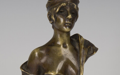 A French Art Nouveau cast bronze head and shoulders portrait bust of 'Galatée', raise