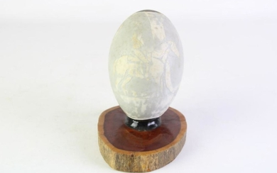 """A Hand Painted Emu Egg Titled """"The Boundary Rider""""By Brian Irving Guyra NSW Mounted on Organic wooden Base"""