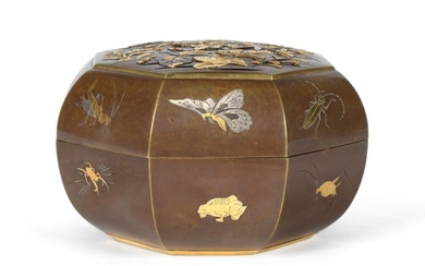 A Japanese Inlaid Bronze Box and Cover, Meiji period, of...