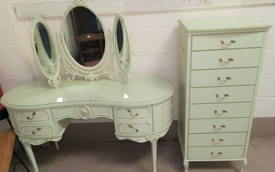 A Louis XV style kidney shaped dressing table with kneehole ...