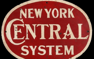 A PAINTED SHEET IRON NEW YORK CENTRAL ENGINE SIGN