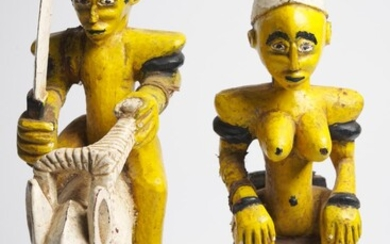 A PAIR OF IVORY COAST POLYCHROME 'TUGUBELE' DIVINATION FIGURES SENUFO PEOPLE, MID 20TH CENTURY