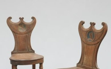 A PAIR OF REGENCY MAHOGANY HALL CHAIRS, with paired