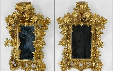 A Pair of Baroque Style Gilt Wood Mirrors.