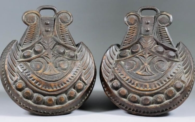 A Pair of Carved and Stained Hardwood Stirrups, 8ins...