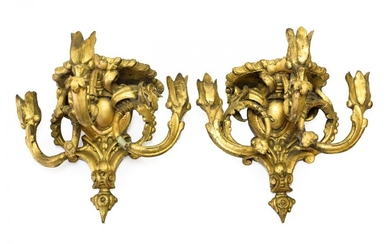 A Pair of Giltwood and Gesso Three-Light Wall Brackets, 19th...
