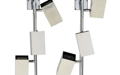 A Pair of Koch & Lowy Chrome Three-Light Wall Fixtures