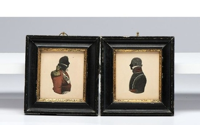 A Pair of Printed Silhouettes of Military Figures