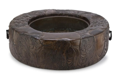 A RARE JAPANESE HIBACHI IN WOOD AND COPPER SECOND HALF 19TH CENTURY.