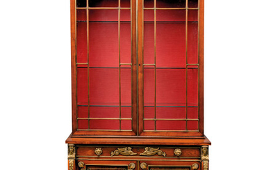 A REGENCY GILT-BRASS-MOUNTED INDIAN ROSEWOOD SECRETAIRE CABINET