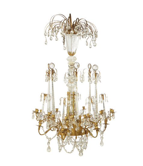 A RUSSIAN ORMOLU AND ROCK CRYSTAL EIGHTEEN-LIGHT CHANDELIER, LATE 18TH CENTURY AND LATER, POSSIBLY BY JOHANN ZEKH