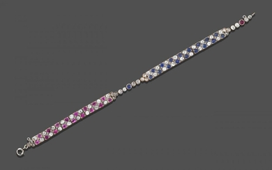 A Sapphire, Ruby and Diamond Bracelet, one section composed of...