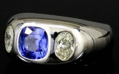 A Sapphire and Diamond Ring, Modern, in 18ct white...