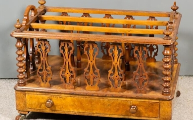 A Victorian Figured Walnut Rectangular Two-Handled Three-Division Canterbury, with...