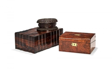 A Victorian burr walnut, ebonised and brass inlaid writing slope, mid 19th century