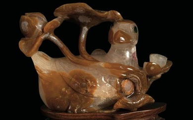 A carved agate group, China, Qing Dynasty, 1800s