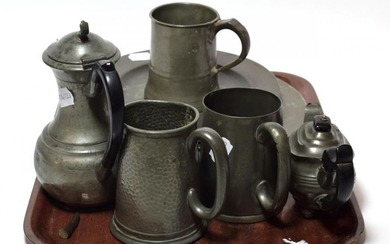 A collection of 17th to 19th century pewter wares, various...