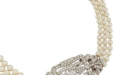 A cultured pearl and diamond necklace, the triple-row...