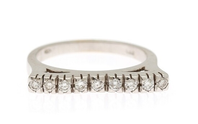 A diamond ring set with nine brilliant-cut diamonds weighing a total of app. 0.34 ct., mounted in 18k white gold. Size 56.