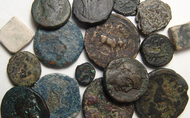 A group of 16 coins and weights from the Holy Land