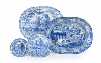A large Staffordshire pearlware 'well and tree' meat dish printed in blue with cattle watering before a castle