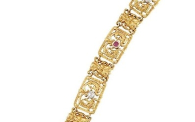 A late 19th century French gold, diamond...