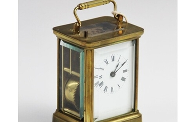 A late 19th century brass cased carriage clock, with a 6cm w...