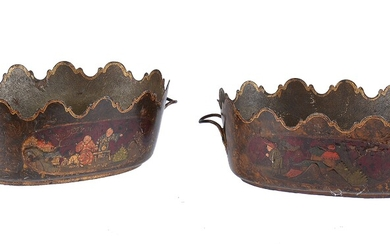 A pair of Empire tôle peinte twin handled cachepots in Chinoiserie taste
