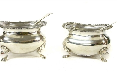 A pair of George III style silver salts