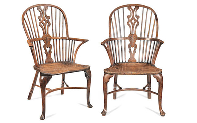 A pair of George III yew-wood high-back Windsor armchairs, Thames Valley, circa 1780