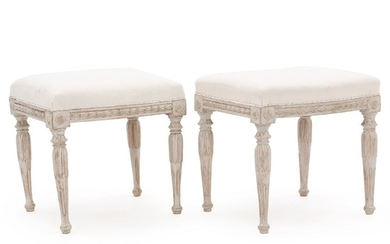 A pair of Gustavian painted stools. Unsigned. Sweden, late 18th century. H. 45 cm. W. 44 cm. D. 40 cm. (2)