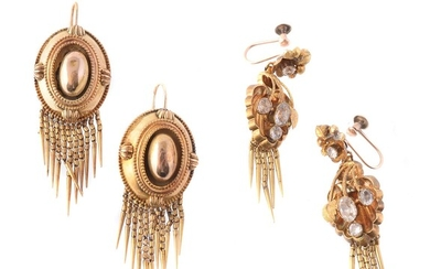 A pair of Regency gold foliate ear pendants
