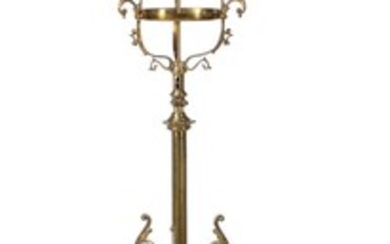 A pair of gilt metal three light girandoles in Rococo Revival style