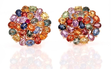 A pair of sapphire ear studs each set with numerous multi-coloured sapphires weighing a total...