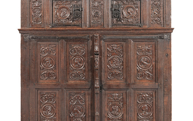 A rare and good first-half of the 16th century joined oak standing cupboard, circa 1520-50, French
