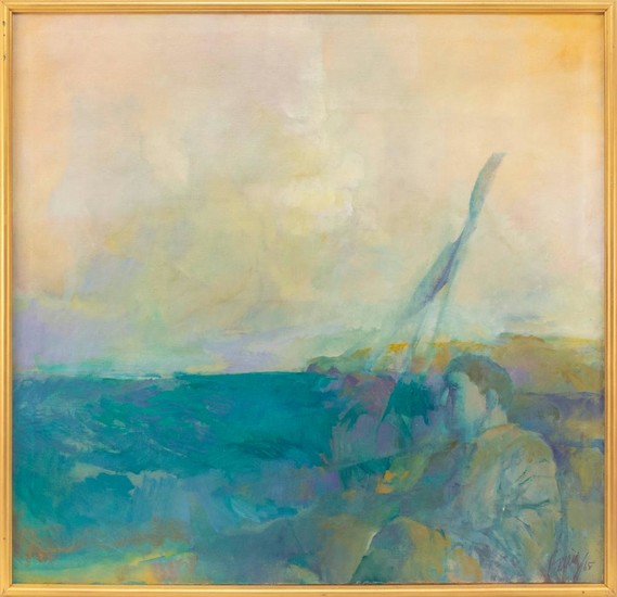 """AMERICAN SCHOOL, 20th Century, Abstract view of a man on a beach., Oil on canvas, 40"""" x 42"""". Framed 42"""" x 44""""."""