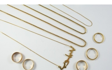 AN 18CT GOLD SQUARE LINK NECKLACE 51cm long, 6.2 grams, toge...