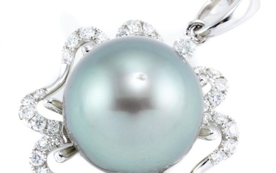 AN 18CT WHITE GOLD TAHITIAN PEARL AND DIAMOND PENDANT; featuring a 13.75mm round fine cultured pearl to a scalloped surround set wit...