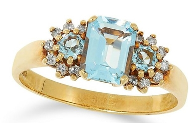 AN AQUAMARINE AND DIAMOND DRESS RING set with an